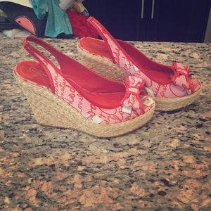 Coach girly print 5 inch wedges